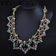 Buy PPG&PGG Luxury Fashion Big Purple Crystal Waterdrop Statement Chunky Choker Necklaces Pendants Women Bijoux Jewelry for $9.62 in AliExpress store