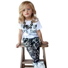 2016 Trendy Round Neck Short Sleeve Letter Print Girls Twinset  Summer T-shirt Geometric Pants Children's Kids Clothing Suit Set