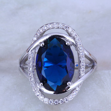 Love Monologue Precious Blue Crystal & Cubic Zirconia Oval 925 Stamp Silver Color Ring Size 6 / 7 / 8 / 9 / 9.5 / 10 J0487(China)