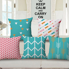 Arrow Pattern Printed Cushion Cover Pop Art Style Cottom Throw Pillow Case Colorful Geometrical Design Sofa Cushion Cover