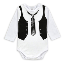 Gentleman Baby Boy Clothes White Newborn Wedding Clothes Baby Rompers Long Sleeve Overalls Next Baby Body Jumpsuit