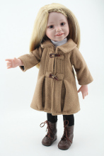 18-inch Hot American Girl smiley ladies wool coat jacket reborn doll children's toys Advanced simulation birthday gift 45cm