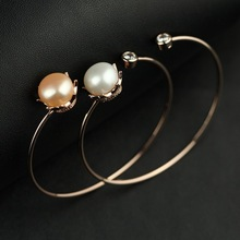 Fashion Silver Pearl Bangle Classic Crown Design Natural Pearl Bangle for Women Elegant Lady Bangle Jewelry Rose Gold Bangles