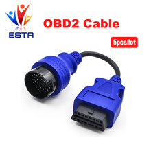 5pcs/lot Blue PS2 38pin truck cable OBD1 to obd2 16pin lead diagnostic interface Iveco 38 pin OBDII extension cord lead Free Sh