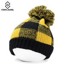 [COSPLACOOL] Heavy hair ball grid yarn pointed hat thicken earmuffs knitted cap hats for men and women