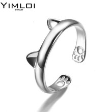 Midi Finger Boho Silver Plated Kitty Cat Ear Ring Cute Tiny Bear Ear Open Ring For Women Girl Child Gifts Adjustable Bijoux R075