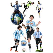 Football star player Messi poster 3d Soccer vinyl wall stickers kids room club decoration removable wallpaper 60*90cm 5 styles(China)