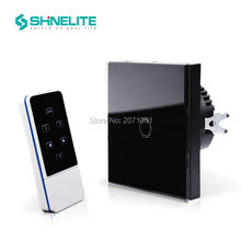 Shinelite EU Standard 1 Gang Capacitive Touch Glass Panel Wireless Electrical Touch Light Switch with Remote Control RF 433Mhz