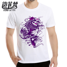 T-Shirt new the walking dead men t shirts walker purple skull zombies high quallity swag crewneck top tees short sleeve summer