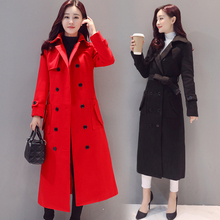 women autumn winter long double breasted coat overcoat woolen cloth coat tweed with belt plus size dress coat