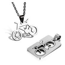 2015 Fashion jewelry Quadrate Bicycle Pendant 316L Stainless Steel Necklaces Bike Mens Necklaces Couple Necklaces 55cm Chain