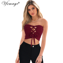 Vfemage Womens Sexy Bow Lace up Crop Top Bustier Tank Camis Corset Girl Chic Summer Casual Beach Party Club Fitted Tube Top 6066