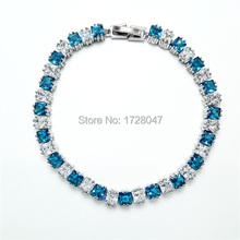 New Spring High Quality Brand Rhodium plated Zircon Bracelet Sapphir sea-blue Gem Cubic Zirconia red Tennis Jewelry For Women