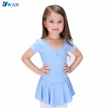 Hot Sale Summer Ballet Dance Dress Girl's Cotton Candy Color Short Sleeve Dress Gymnastics Leotard Slim Wear Girls Dresses(China)