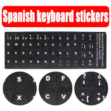 Standard Waterproof Spanish Language Keyboard Stickers Protective Film Layout with Button Letters Alphabet for Computer Keyboard