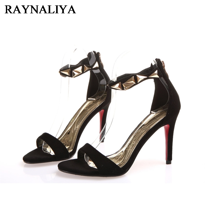 Kid Suede Leather Buckle Women Shoes Sandals Fashion Elegant Summer Party Open Toed Pump Big Size Shoes 34-43 BLY-A0063<br>