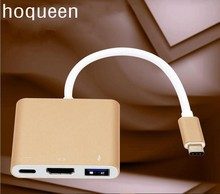 "hoqueen USB type c to vga /hdmi hub usb3.1 Digital AV & USB OTG & USB C Multiport Charger Adapter Cable for Apple Macbook 12""(China)"