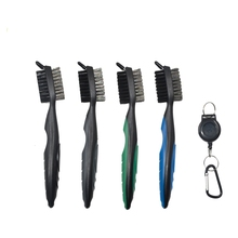 Wholesale 2 Sided Golf Brush and Club Groove Cleaner with 2ft Retractable Zip-Line Cleaning Brush