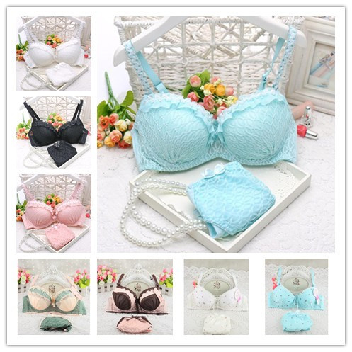 2016 new push up women bra set cute 32 34 36 A B C cup young girl sexy lace cotton underwear suits(China (Mainland))