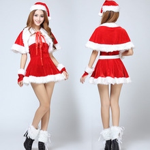 2015 New Fashion Gold Velvet Sexy Adult Santa Miss Dress Nifty Cute Christmas Sweetheart Miss Halloween Cosplay Costume 6pcs/Set