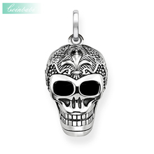 Pendant Lily Skull Skeleton 925 Sterling Silver To Men Punk Heart Jewelry Fashion Rebel Thomas Key Chains Pendant Fit Necklace(China)