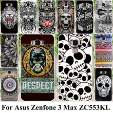 Silicon Plastic Cell Phone Cases For Asus Zenfone 3 Max ZC553KL Shell Covers Zenfone3 Max 5.5 inch Housing Bags Cool Skull Case