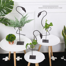 Nordic Iron Flamingo Plant Hydroponics Furnishing Articles Pastoral Home Decoration Carving Iron Flamingo Christmas Gift Crafts(China)