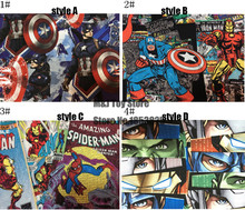 100*110cm the Avengers Hulk, Spiderman, zombie Child boy Cotton Sewing Fabric DIY Handmade Material Hometextile Patchwork