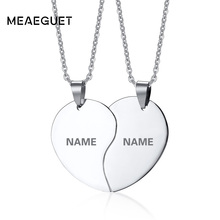 Meaeguet Free Engraving Classic Solid Heart Necklace For Men Women Couple Stainless Steel Personalized Love Pendant Necklace Set