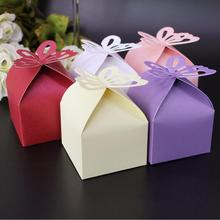 butterfly square Laser Cut paper candy chocolate gift box for wedding birthday tea party favor Wholesale(China)