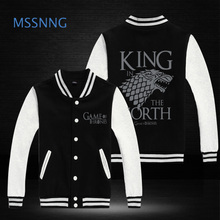 2016 New Fashion Brand Clothing Baseball Jacket Game of Thrones king in the north Men Sweatshirt  Jackets Casual Jacket 5 colors