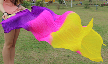 Hits 2016 High selling women Quality Silk Belly Dance Fan Dance 100% Real Silk Veils 1 pair 180*90 cm Purple+Rose red+yellow