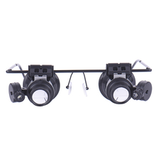 20x led double eye repair magnifier glasses Mini Loupe Lens Magnifying Glas with LED Light Watch Jeweler Microscope