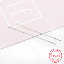 64mm A pair 925 sterling silver box Line Chain Earring Supplies for Crystal Beads silver Ear Threads For Jewelry Findings(China)