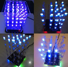 1Pcs New 4*4*4 3D LED LightSquared White  Blue Ray  Cube DIY Kit New in Selling