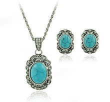 Turquoise Jewelry Sets Old Silver Plating Alloy Material European Style Wedding Ornament  Vintage   Antique LM-S011