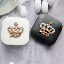 Cute Contact Lenses Case Crown Design Travel Lens Box Set With Mirror Eye Lenses Holder Container For Cosmetic Contact Lens(China)