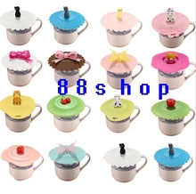 Cute Anti-dust Silicone Glass Cup Cover Coffee Mug Suction Seal Lid Cap Cartoon free shipping