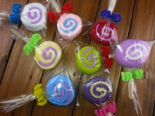 10pcs Cute Washcloth Towel Gift Lollipop Towel Bridal Baby Shower Wedding Party Favor Candy Shape Towel