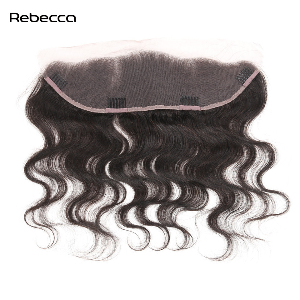 Brazilian Remy Body Wave Hair Bundles Lace Frontal Closure With Clip In Human Hair Extensions Natural Black Color Rebecca Hair
