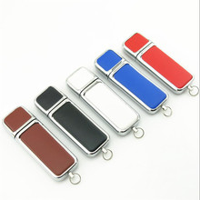 Custom business leather USB 2.0 pen Drive Memory Stick exhibition party gift 4GB 8GB 16GB 32GB 50pcs / lot