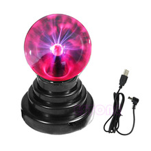 Hot Selling 14.5X9.8cm USB Magic Black Base Glass Plasma Ball Sphere Lightning Party Lamp Light With USB Cable #D8822#(China)