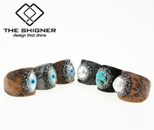 Python Pattern Leather Jewelry Snake Skin Rings Natural Shell Pearl Stone Turkish Evil Eye Leather Base Adjustable Finger Rings(China)