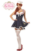 free shipping F96 Navy Sailor Girl Uniform Ladies Rockabilly Pin Up Fancy Dress Costume & Hat S-2XL UK(China)