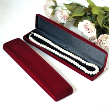 Dark Red Velvet Necklace Bracelet Box 10pcs/lot Long Jewellery Watch Box Case For Jewelry Display Necklace Organizer Gift  H0538