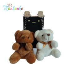 Wholesale 20pcs/Lot 8cm Mini Plush Teddy Bear Key Chain Small Stuffed Animal Pendant Wedding Gift Metal Key Ring