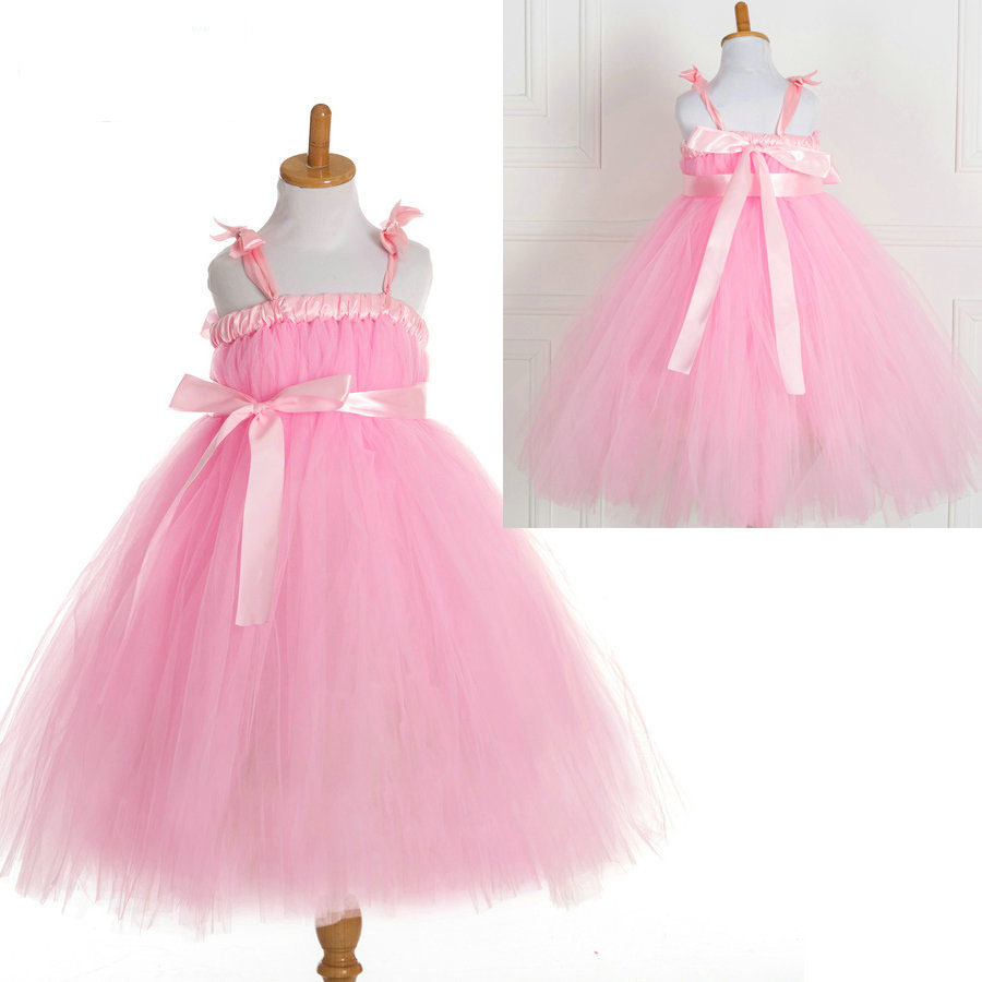 hotsale kids dresses for girls 2016 party bandage tutu style tulle toddler pink dress kids<br><br>Aliexpress
