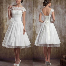 Hot Sale Plus Size White/Ivory Tea Length Wedding Dresses Scoop Neck Short Sleeve Lace Bridal Party Gowns Custom ZY4619