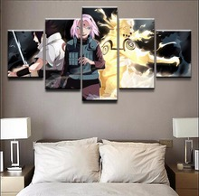 5 Piece Naruto Uzumaki Sakura Haruno Sasuke Uchiha Home Decor Print Picture Artwork Frame Modern Wall Art Decor Canvas Painting