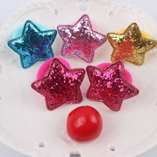 2017 new Glitter powder Star 5 colors beautiful rubber band kids 30mm+40mm The ponytail holder hair accessories for girl 1pcs(China)